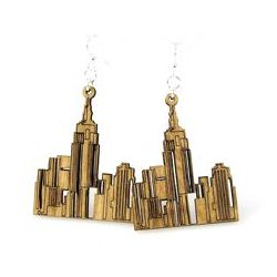 Tan ny cityscape wood earrings