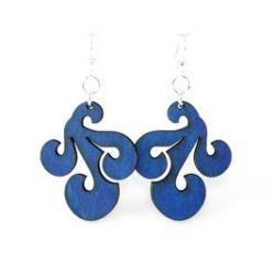 royal blue tri wave wood earrings