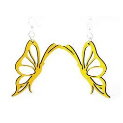 yellow profile butterfly wood earrings