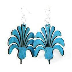 aqua marine flower bouquet wood earrings