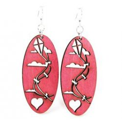wine flying kite wood earrings