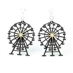 black satin ferris wheel wood earrings