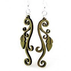 apple green leaves on vine earrings