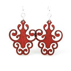 cherry red iron lamp design earrings