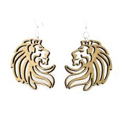 tan stone lion wood earrings