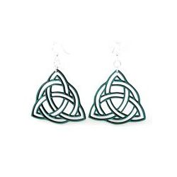 teal trinity knot wood earrings