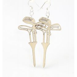 golf set on tees wood earrings