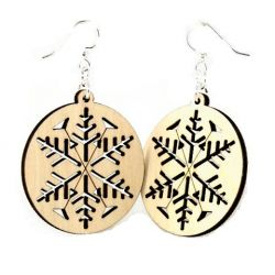 Snowflake wood earrings