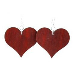 red large solid heart wood earrings