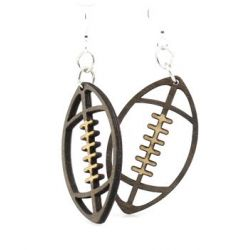 football wood earrings