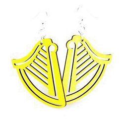 yellow harp wood earrings