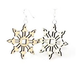 natural wood falling snowflake wood earrings