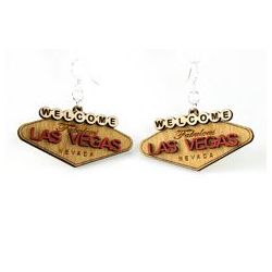 las vegas sign wood earrings