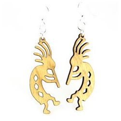 Tan kokopelli wood earrings