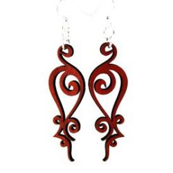 red iron loop wood earrings