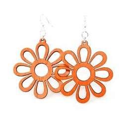 tangerine sunflower wood earrings