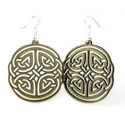 green irish design wood earrings