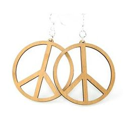 tan large peace sign wood earrings