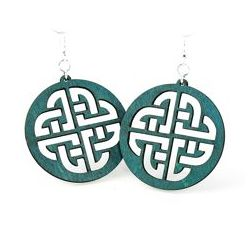 Teal celtic sign wood earrings