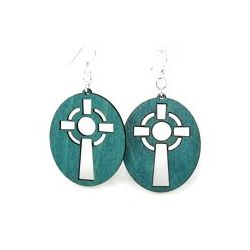 teal celtic cross wood earrings