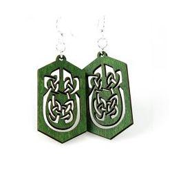 kelly green celtic rectangle earrings