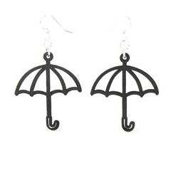 black umbrella wood earrings