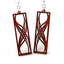 red rectangular elegance wood earrings