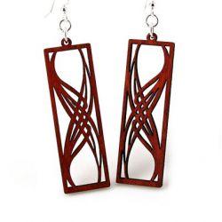 red rectangular elegance wood earrings