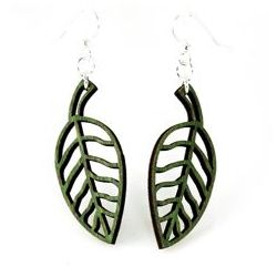 green simple leaf wood earrings