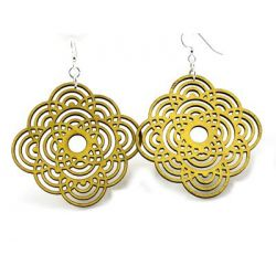 yellow large diamond half circle wood earrings