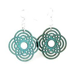 teal small diamond half circle wood earrings