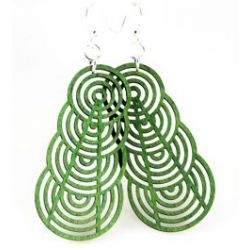 green ascending interlockling circle earrings