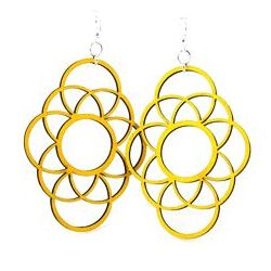 yellow long circle oblong wood earrings