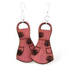 Pink apron wood earrings