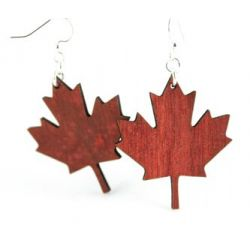 maple leaf wood earrings