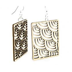 tan modern square wood earrings