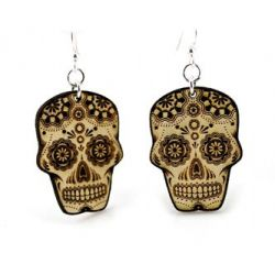 sugar skull wood earrings