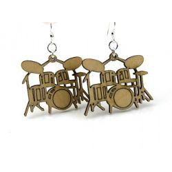 tan drum wood earrings