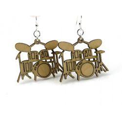 tan drum wood earrings