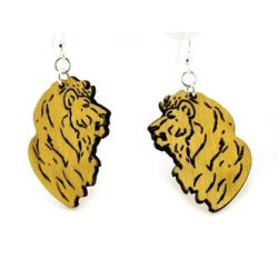 detailed lion wood earrings