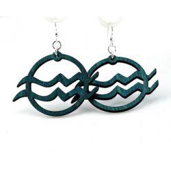 teal Aquarius wood earrings