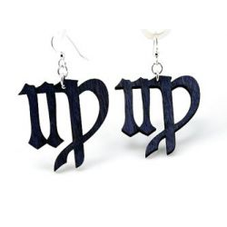 black virgo wood earrings