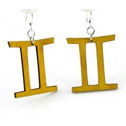 tan gemini wood earrings