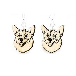 corgi wood earrings