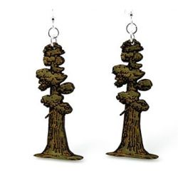 tall redwood tree wood earrings
