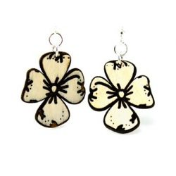 dogwood flower wood earrings