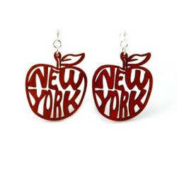 red ny apple wood earrings