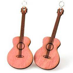 pink classic guitar wood earrings