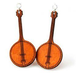tangerine banjo wood earrings