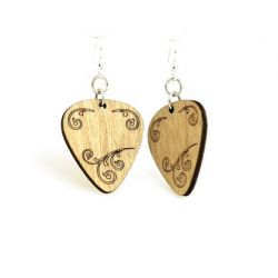tan guitar pick wood earrings